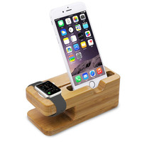 Bamboo iPhone 6 and Apple Watch Stand