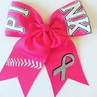 PINK Awareness Softball Hair Bow