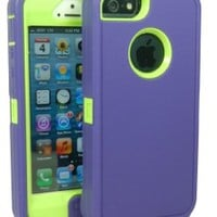 Iphone 5 Defender Body Armor Case Boom Purple on Punk Green Comparable to Otterbox Defender Series + Bonus Cube Charger