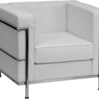 Regal Contemporary White Leather Chair with Encasing Frame
