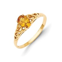 Size 5 14kt Yellow Gold Oval Synthetic Citrine Birthstone Girls Ring