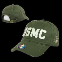 Vintage Cotton Twill US Marine Corps USMC Baseball Cap Ball Hat Armed Forces S84