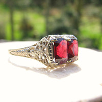 Art Deco Garnet Ring, Emerald Cut Garnets with Beautiful Color, Intricate White Gold Filigree, Flower Blossoms, Hard to Find Larger Size