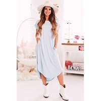 Weekend Dreaming Ribbed Maxi Dress (Blue)