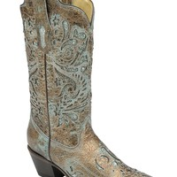 Corral ® Ladies Bronze With Turquoise Glitter Inaly Cowgirl Boot