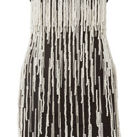 Attico - Crystal and faux-pearl embellished cotton-canvas mini dress