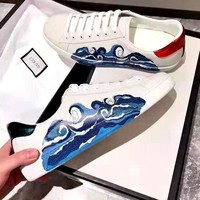 Free Shipping-Gucci new wave pattern low cut shoes