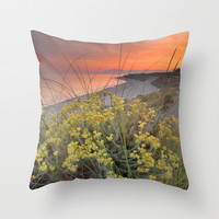 Magical red sunset at the sea Throw Pillow by Guido Montañés