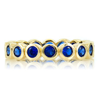 Joy's Gold Plated Eternity Ring- Synthetic Sapphire