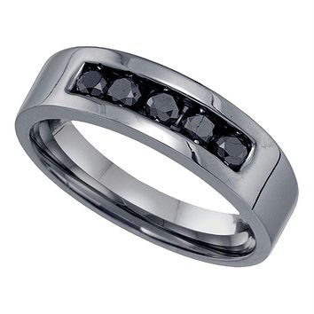 Sterling Silver Black Color Enhanced Round Diamond Mens Masculine Wedding Anniversary Band 5/8 Cttw