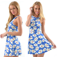 Blue Daisy Print Sleeveless A-Line Dress