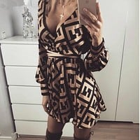 FENDI Women Retro FF Print Long Sleeve Dress