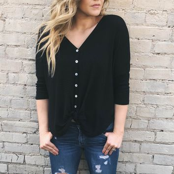 Shelby Waffle Knot Top | Black