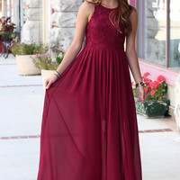 Here for the Party Lace Crochet Maxi Dress {Burgundy}