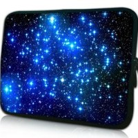 15 inch Endless Universe Twinkling Blue Stars DOUBLE Sided Print Laptop Slipcase Bag Sleeve Cover Carry Case for Macbook Pro Acer Asus Dell HP Sony