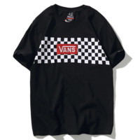 Vans New fashion embroidery letter tartan print couple top t-shirt Black
