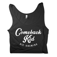 Comeback Kid: Script (Black) Crop Top (Black)
