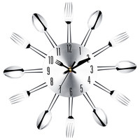 Kitchen Fork & Knife Wall Clock / Decorative Clock, Sliver