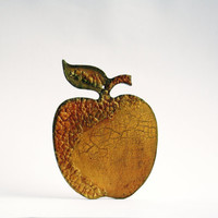 Gold Apple Decorative Wall Ornament Hand Cutted and Hand Painted Rustic Decor