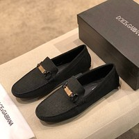 D&G DOLCE & GABBANA Men's Leather Fashion Low Top Loafers Shoes