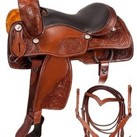 NEW WESTERN LEATHER BARREL RACING TRAIL PLEASURE HORSE SADDLE WITH GIRTH