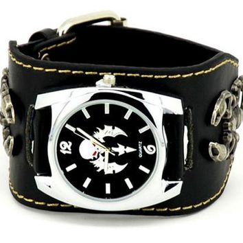 Leather Band Motorcycle Watch with Scorpions