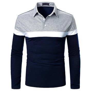 Men's Tri Color Stitched Long Sleeve Shirts