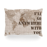 """Catherine Holcombe """"I'll Go Anywhere With You"""" Brown Map Oblong Pillow"""