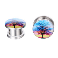 Plugs 2G Sunset Tree Branching Out Screw Fit Plugs 2 Gauge (6mm) - 2 Pieces