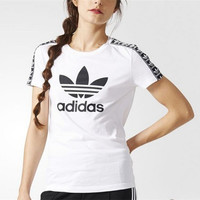 """Adidas"" Women Multicolor Stripe Clover Letter Print Short Sleeve T-shirt"