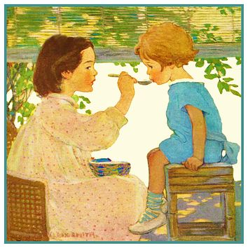 Big Sis Feeds Little Sister By Jessie Willcox Smith Counted Cross Stitch Pattern