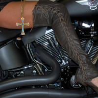 Motorcycle Leather Over-the-Knee Lace Up Half Chaps, Gaiters, Spats, Boots...Stivalettos.