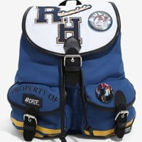 Licensed cool Riverdale Varsity Slouch Backpack Archie Blue RH Patch & Button Hot Topic NWT