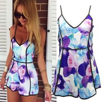 Vakind Sexy Women V-Neck High-Waist Floral Casual Jumpsuit Playsuit Rompers