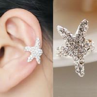Starfish Sparkly Fashion Single Ear Cuff (Single, No Piercing) | LilyFair Jewelry