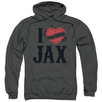 SONS OF ANARCHY/I HEART JAX-ADULT PULL-OVER HOODIE-CHARCOAL