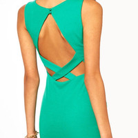 Green Sleeveless Cross Strap Chest Cut-out Mini Dress