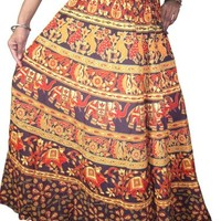 Indian Long Skirt Tribal printed Summer Casual Cotton Hippie Gypsy Peasant Maxi Skirts: Amazon.com: Clothing