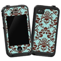 """Classic Brown and Blue Damask """"Protective Decal Skin"""" for LifeProof iPhone 4/4s Case"""