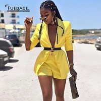 Fuedage summer Two Piece Sets 2018 Sexy Deep V Neck Official Top And Shorts 2 Piece Set Women Long Sleeve Elegant women Set