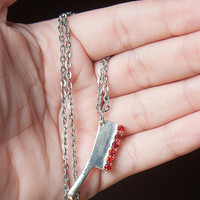 Creepy Silver Gothic Bloody Butcher Cleaver Charm by Goraline