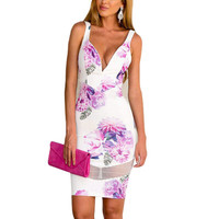 Women Sexy Floral Summer Style Bodycon Party Cocktail Clubwear Dress