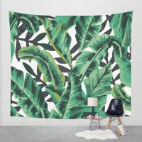 Tropical Glam Banana Leaf Print Wall Tapestry by Nikki