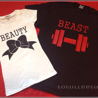Beauty and The Beasy Matching Couples Shirts Sparkly Black Bow with Black Shirt with red fornt