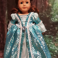 """Historical 18 inch doll clothes """"Ice Blue Reign"""" will fit American Girl® renaissance gown medieval sequins gown"""