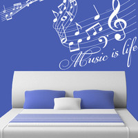 Wall Decal Vinyl Sticker Decals Art Decor Design Sign Music is Life Songs Sound Notes Melody Jazz Living Room Dorm Nursery Bedroom (r749)