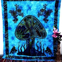 Psychedelic Dancing Mushroom Sun Hippie Meditation Tapestry Wall Hanging Beach Decor