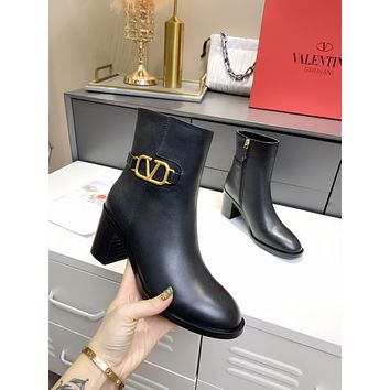 Valentino Trending Women's men Leather Side Zip Lace-up Ankle Boots Shoes High Boots 0715