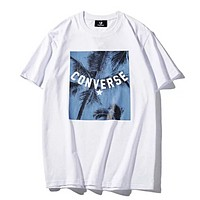 Converse Summer New Fashion Leaf Letter Print Women Men Leisure Top T-Shirt White