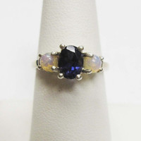 Sterling Silver Iolite and Opal Ring